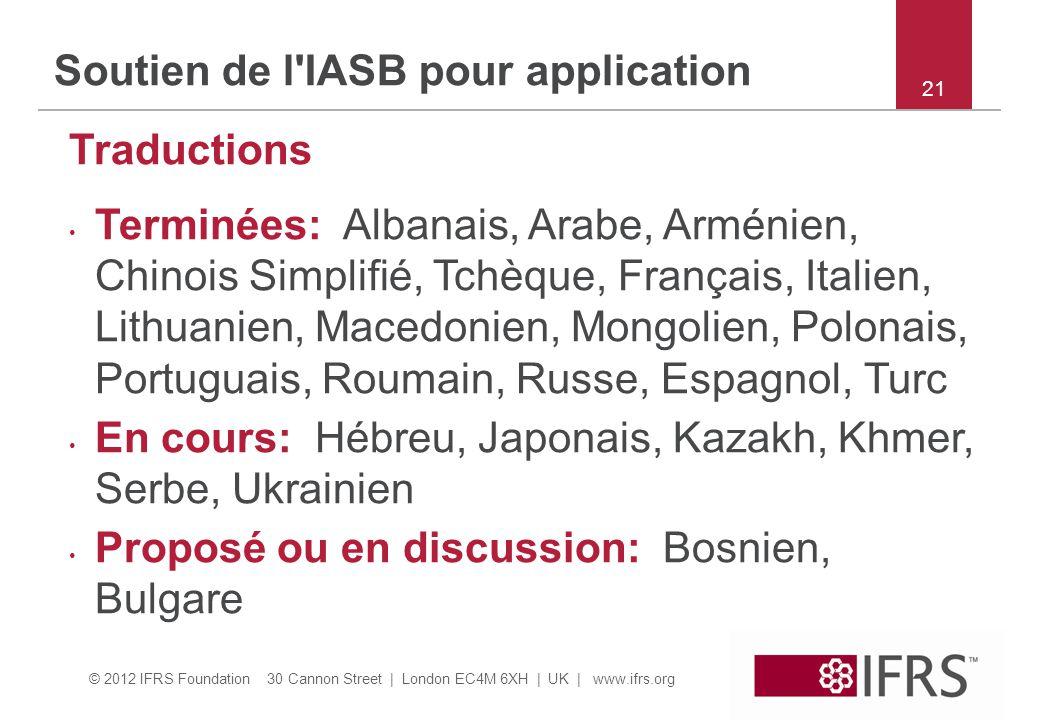 Soutien de l IASB pour application