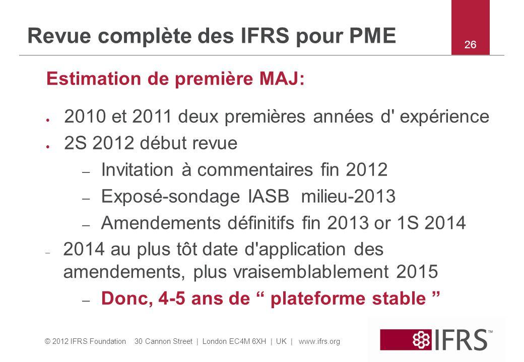 Revue complète des IFRS pour PME