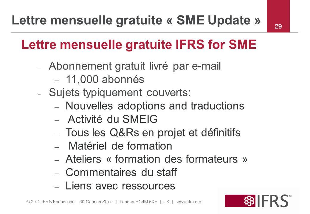 Lettre mensuelle gratuite « SME Update »