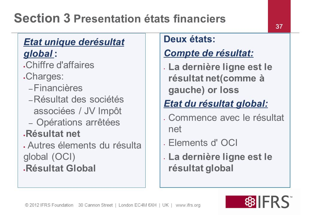 Section 3 Presentation états financiers