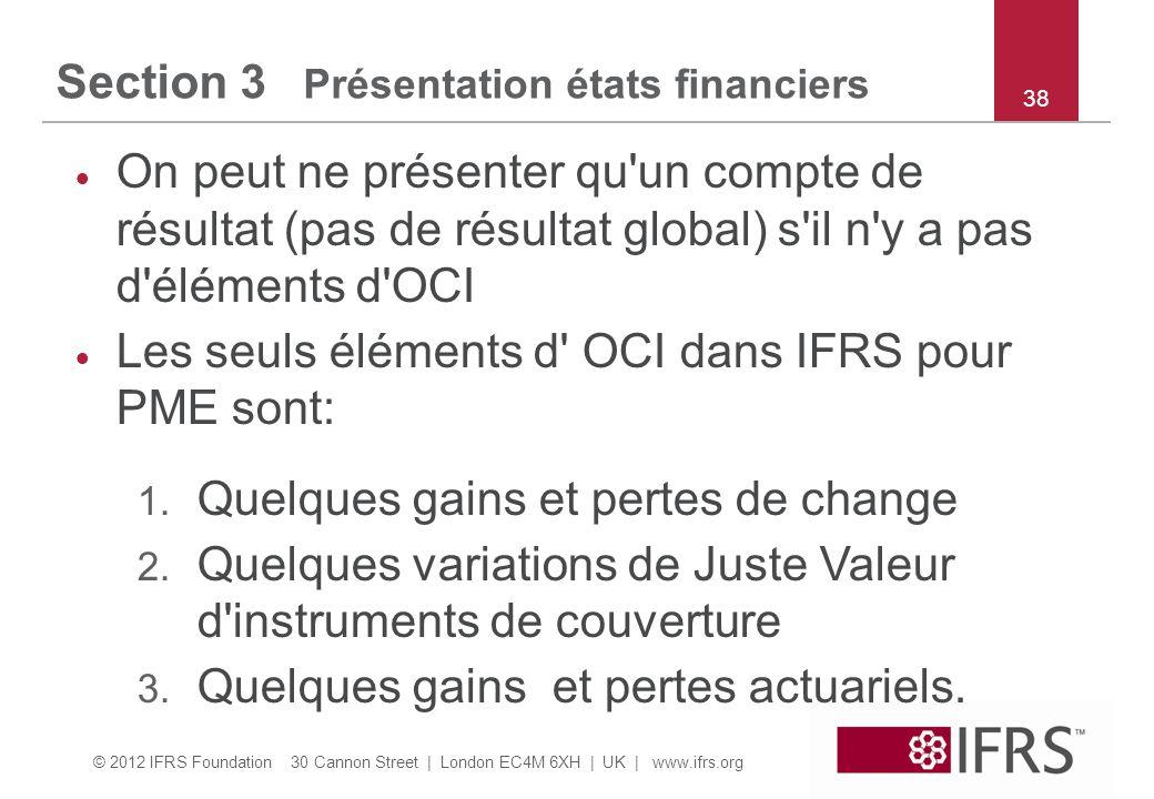 Section 3 Présentation états financiers