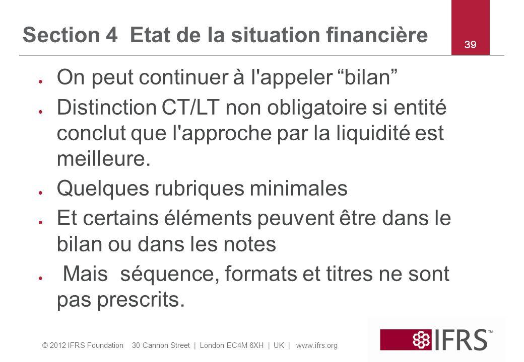 Section 4 Etat de la situation financière