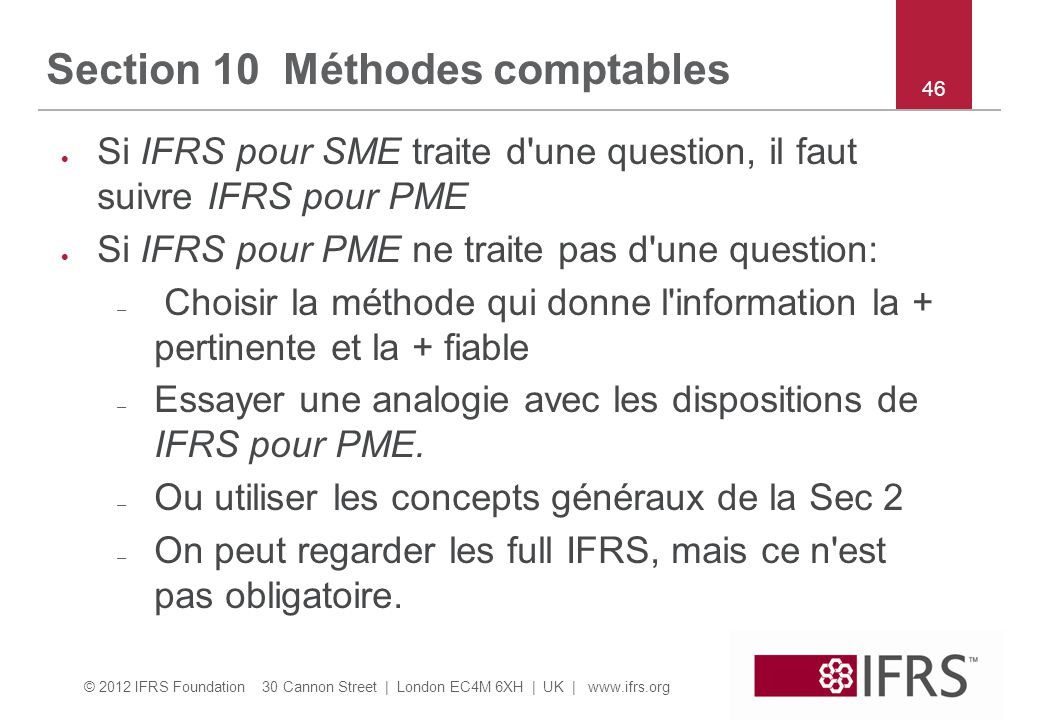 Section 10 Méthodes comptables