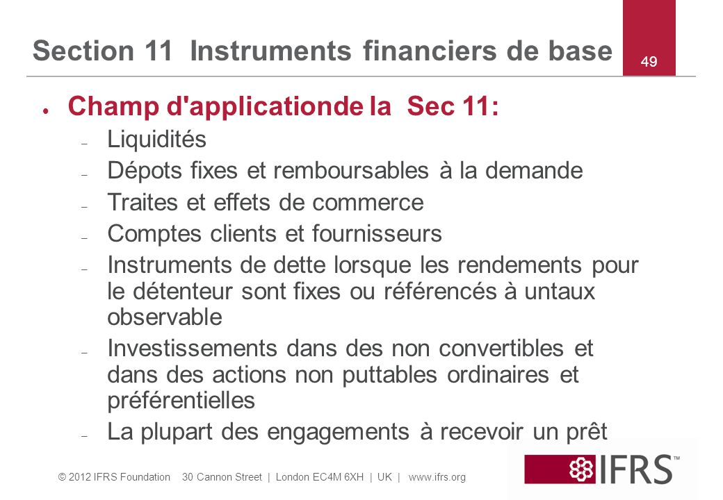 Section 11 Instruments financiers de base