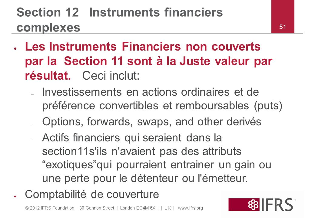 Section 12 Instruments financiers complexes