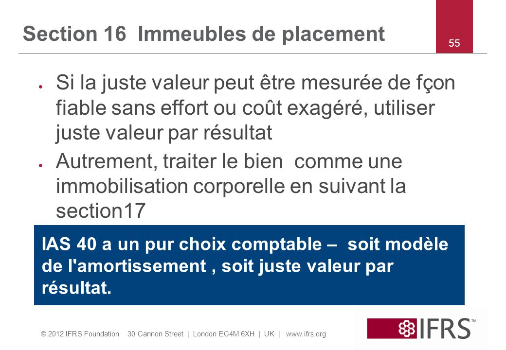 Section 16 Immeubles de placement