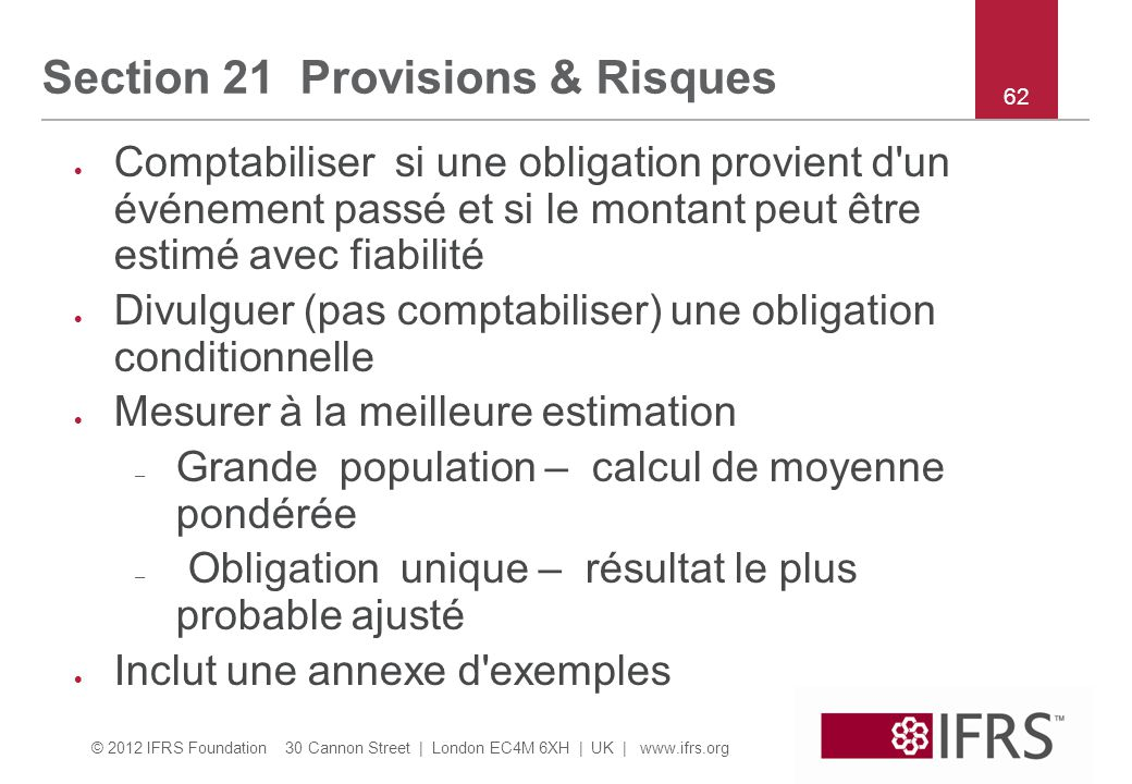 Section 21 Provisions & Risques