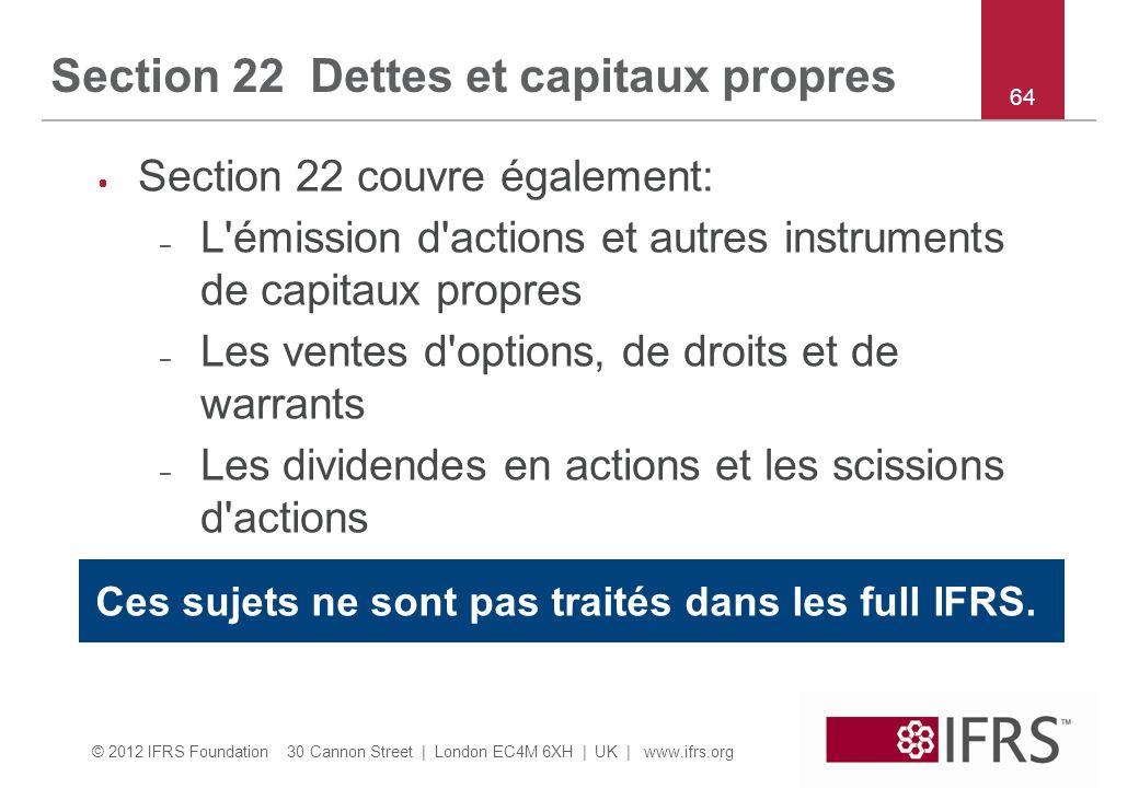 Section 22 Dettes et capitaux propres