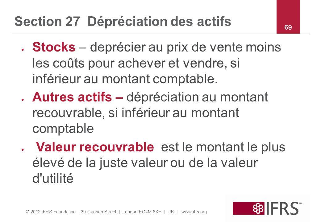 Section 27 Dépréciation des actifs