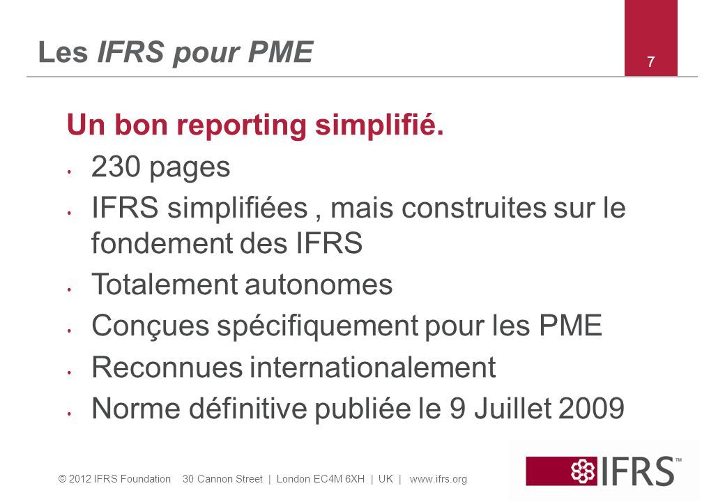 Un bon reporting simplifié. 230 pages