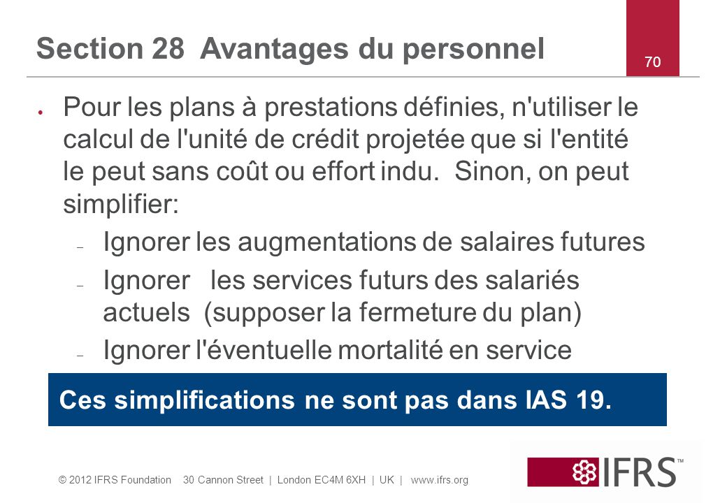 Section 28 Avantages du personnel