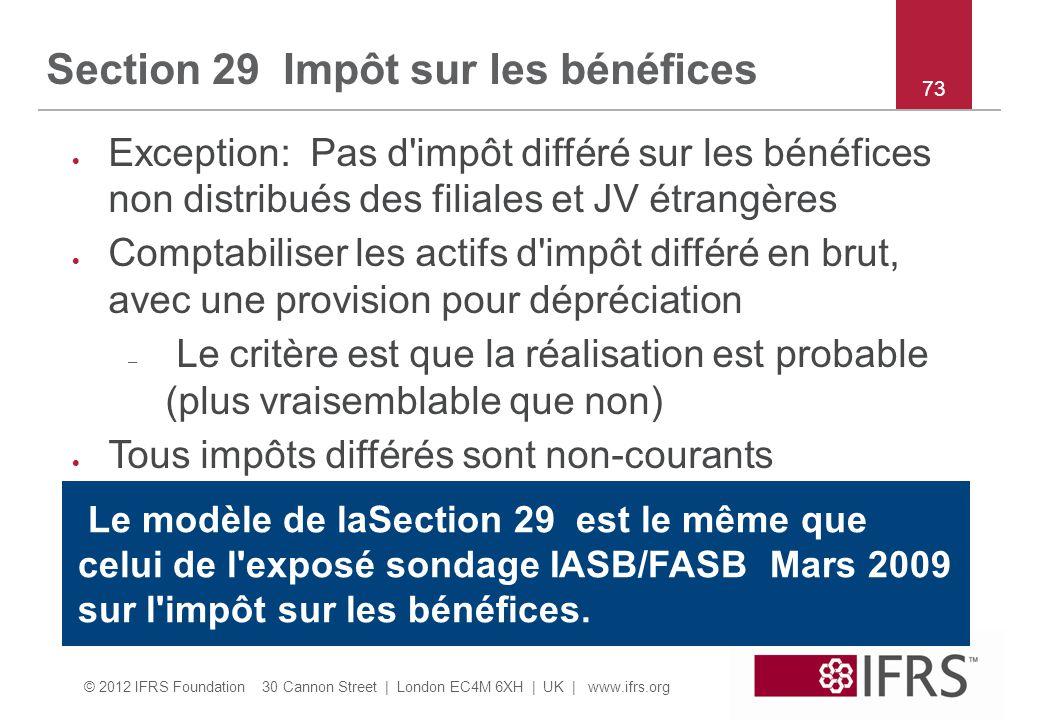 Section 29 Impôt sur les bénéfices