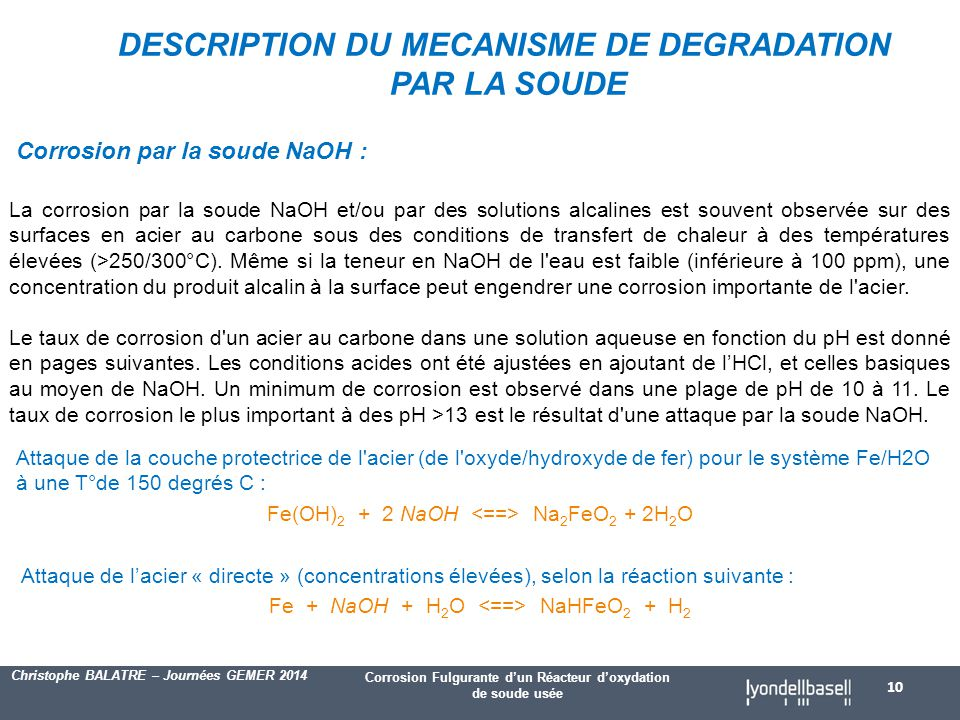 DESCRIPTION DU MECANISME DE DEGRADATION