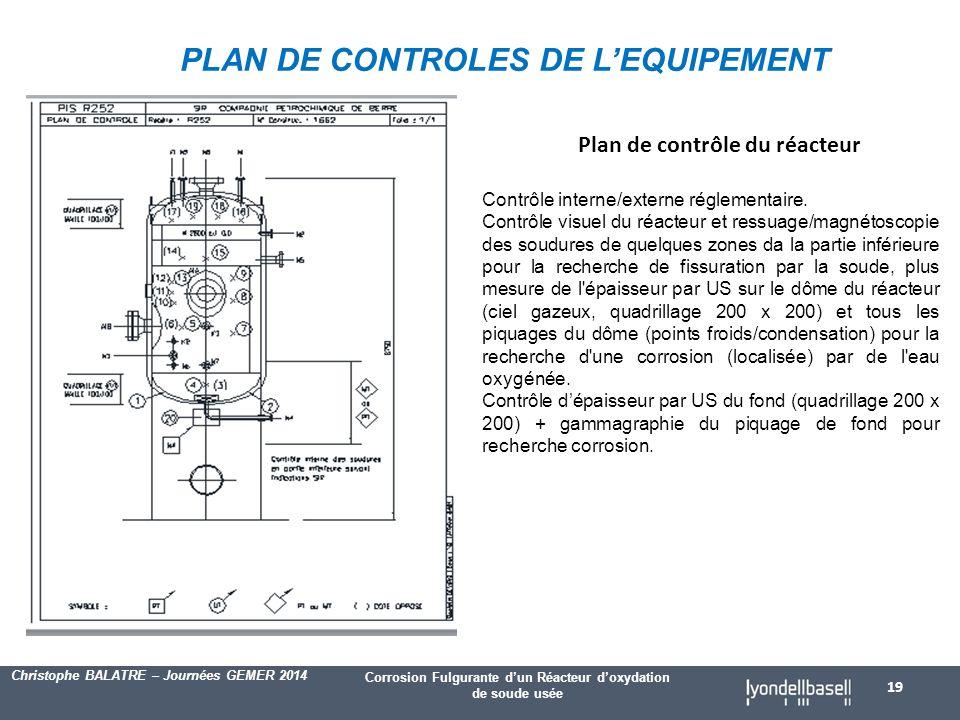 PLAN DE CONTROLES DE L'EQUIPEMENT