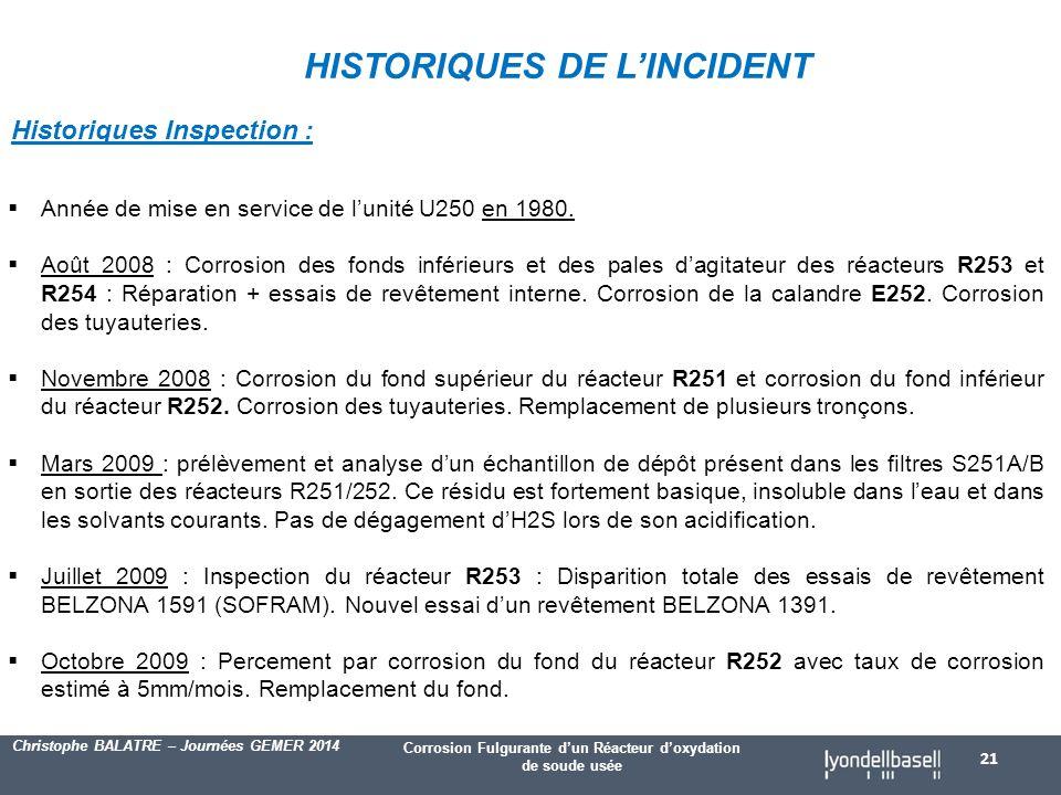 HISTORIQUES DE L'INCIDENT