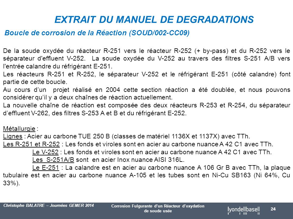 EXTRAIT DU MANUEL DE DEGRADATIONS