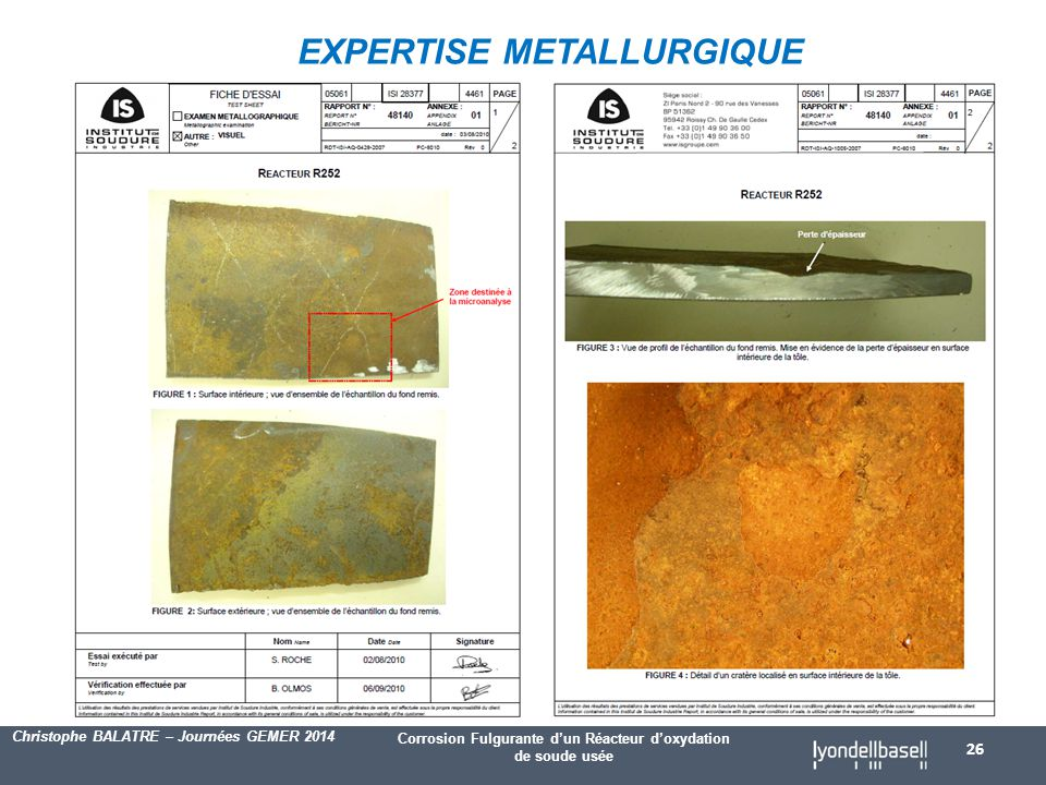 EXPERTISE METALLURGIQUE