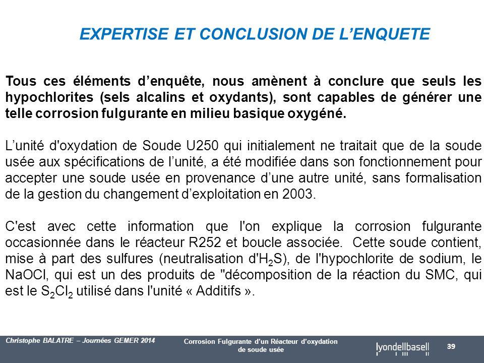 EXPERTISE ET CONCLUSION DE L'ENQUETE