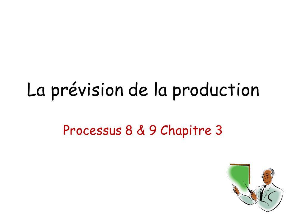 La prévision de la production