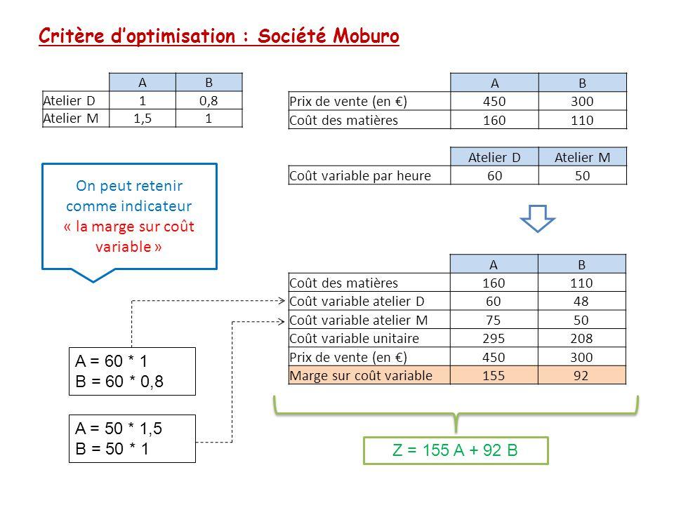 Critère d'optimisation : Société Moburo