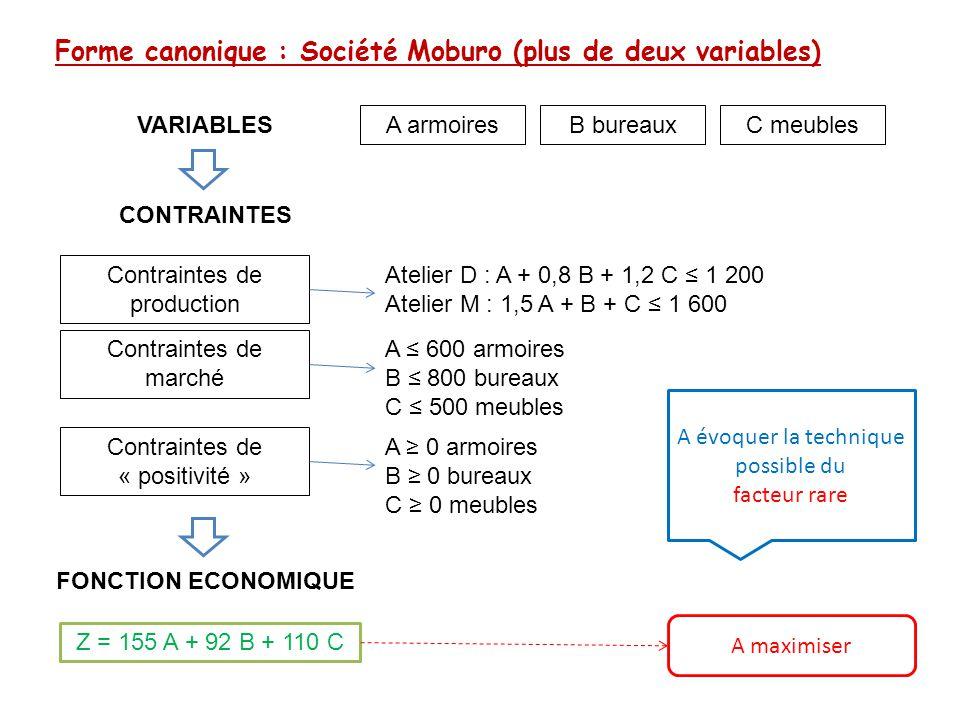 Forme canonique : Société Moburo (plus de deux variables)