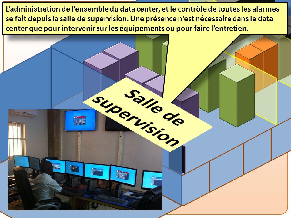 L'administration de l'ensemble du data center, et le contrôle de toutes les alarmes se fait depuis la salle de supervision. Une présence n'est nécessaire dans le data center que pour intervenir sur les équipements ou pour faire l'entretien.