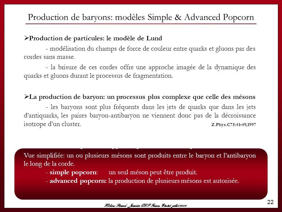 Production de baryons: modèles Simple & Advanced Popcorn