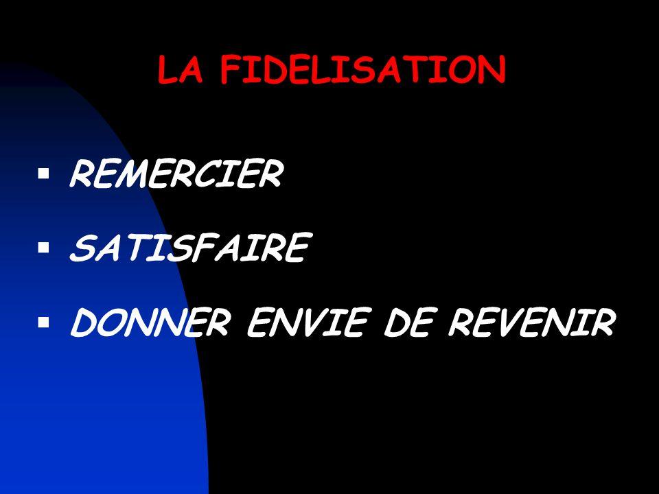 LA FIDELISATION REMERCIER SATISFAIRE DONNER ENVIE DE REVENIR