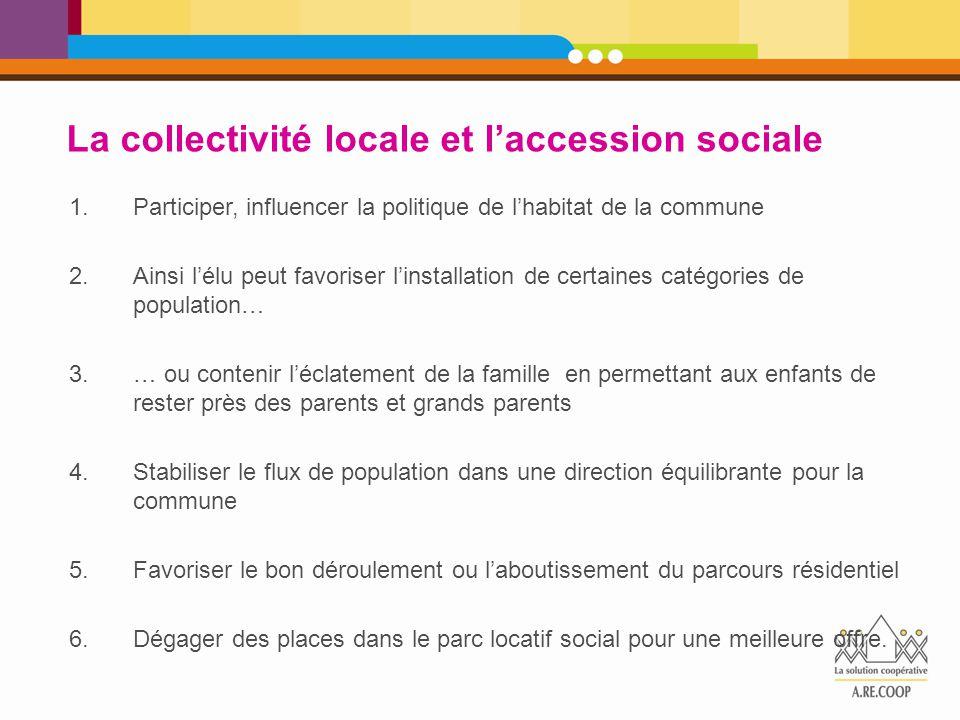 La collectivité locale et l'accession sociale