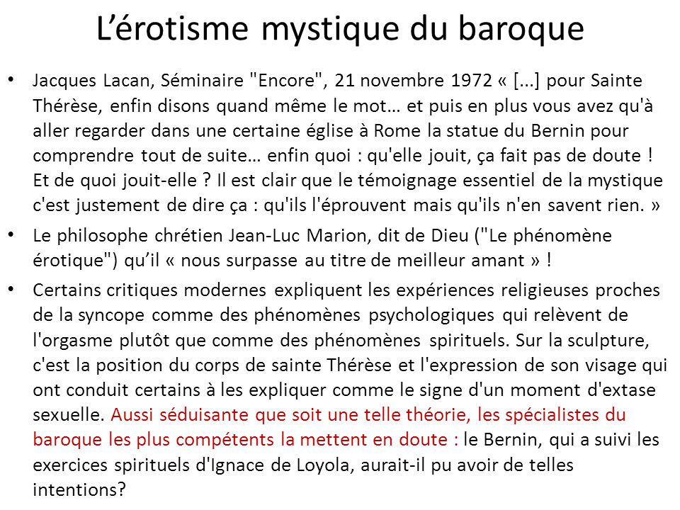 L'érotisme mystique du baroque