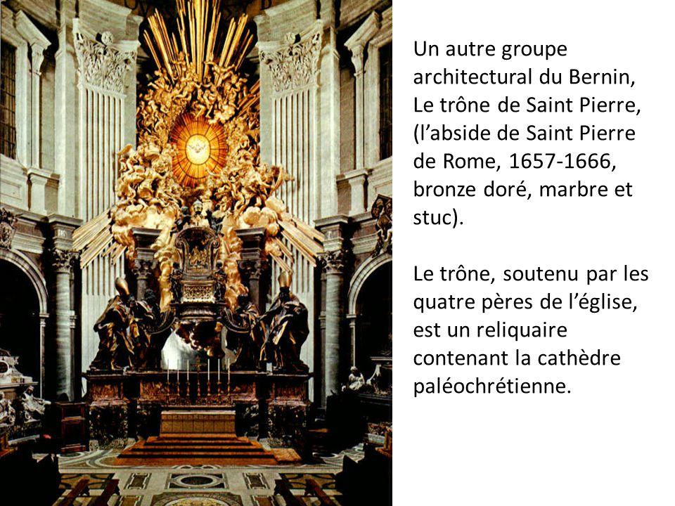 Un autre groupe architectural du Bernin, Le trône de Saint Pierre, (l'abside de Saint Pierre de Rome, 1657-1666, bronze doré, marbre et stuc).