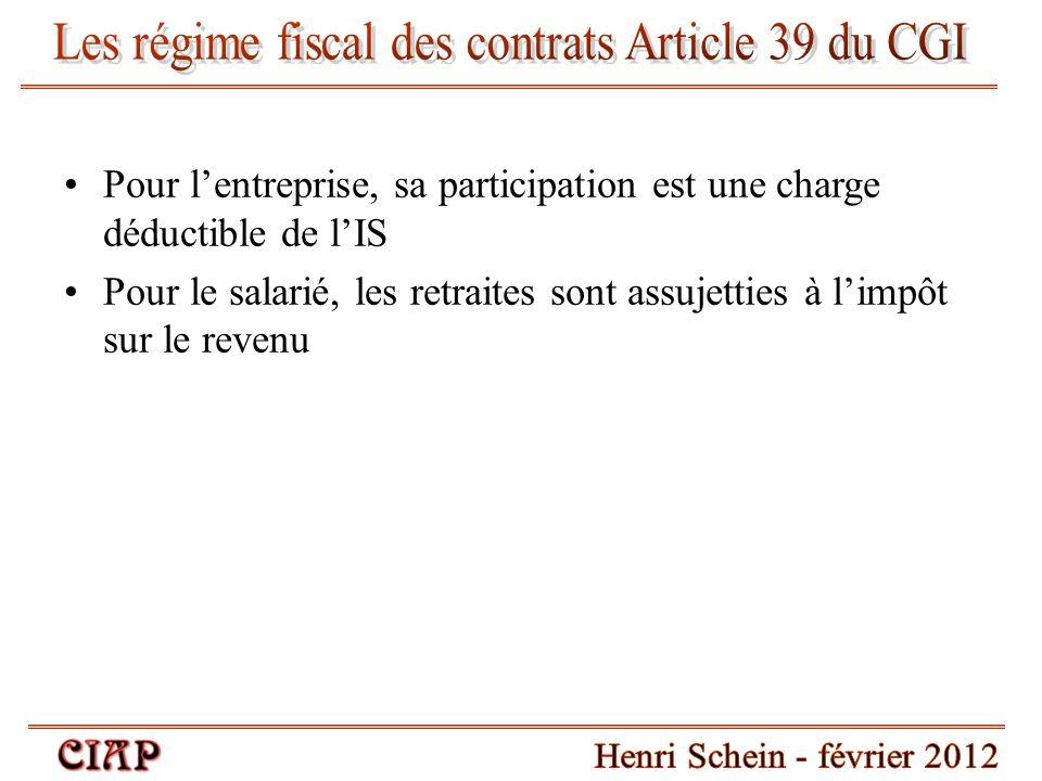 Les régime fiscal des contrats Article 39 du CGI