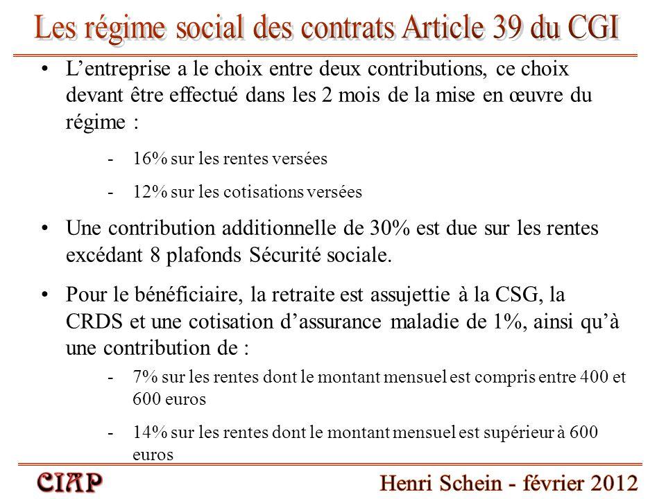 Les régime social des contrats Article 39 du CGI