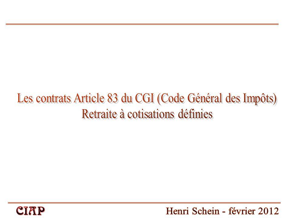 Les contrats Article 83 du CGI (Code Général des Impôts)