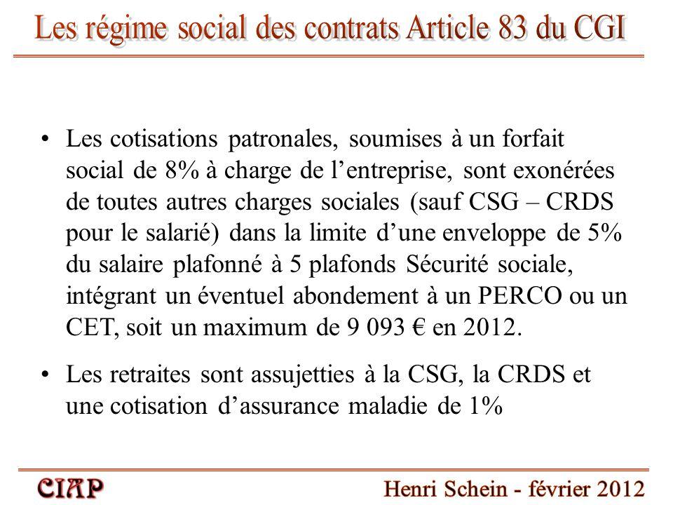 Les régime social des contrats Article 83 du CGI