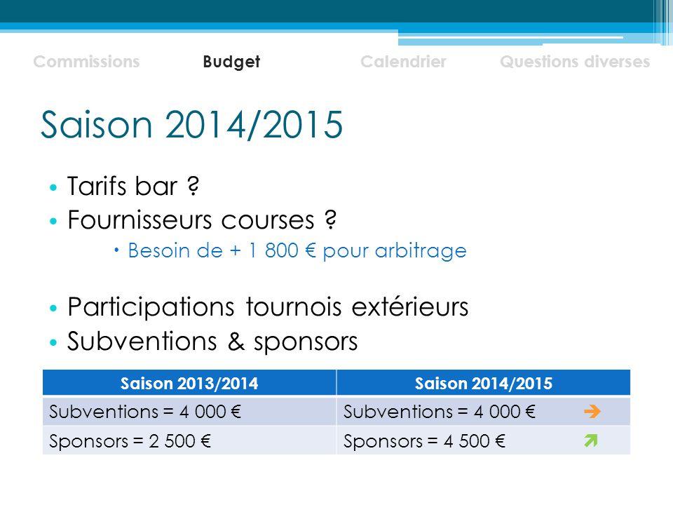 Saison 2014/2015 Tarifs bar Fournisseurs courses