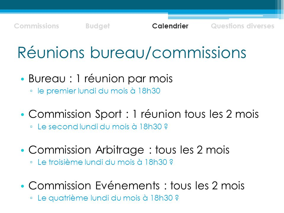 Réunions bureau/commissions