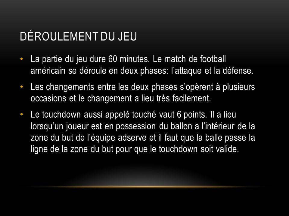 Déroulement du jeu La partie du jeu dure 60 minutes. Le match de football américain se déroule en deux phases: l'attaque et la défense.