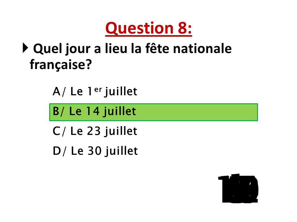 Question 8: Quel jour a lieu la fête nationale française A/ Le 1er juillet. B/ Le 14 juillet. C/ Le 23 juillet.