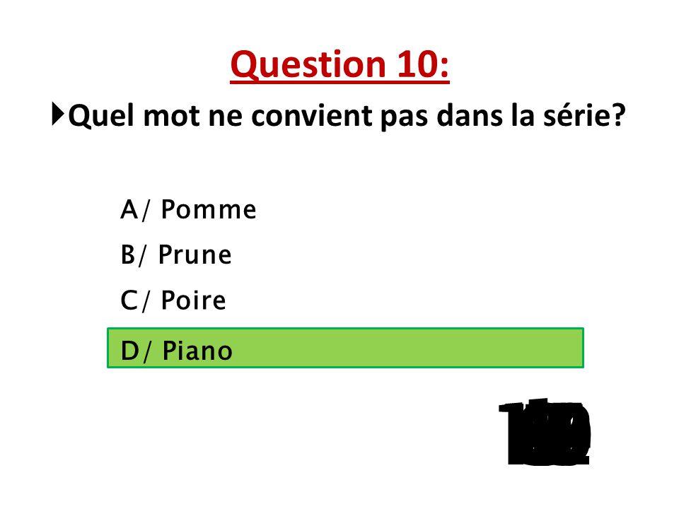 Question 10: Quel mot ne convient pas dans la série A/ Pomme. B/ Prune. C/ Poire. La question 5 a 3 reponses possibles.