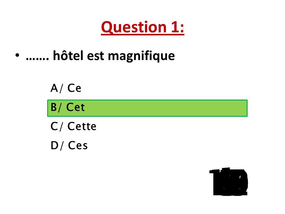 Question 1: ……. hôtel est magnifique. A/ Ce. B/ Cet. C/ Cette. La question 5 a 3 reponses possibles.
