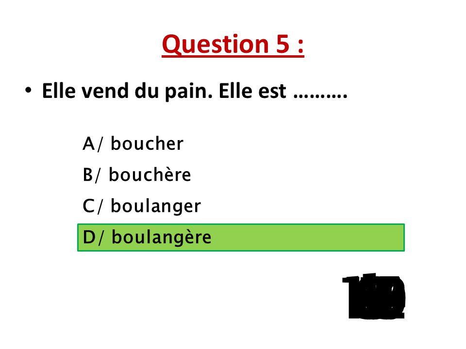 Question 5 : Elle vend du pain. Elle est ………. A/ boucher. B/ bouchère. C/ boulanger. La question 5 a 3 reponses possibles.