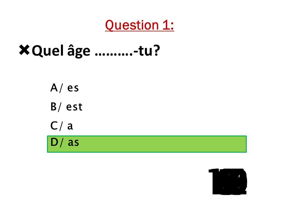 13 11 10 14 9 12 8 4 7 1 6 5 3 2 15 Quel âge ……….-tu Question 1: