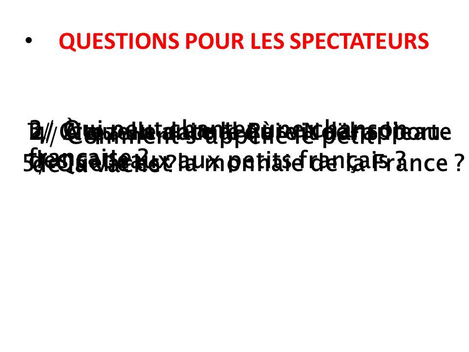 QUESTIONS POUR LES SPECTATEURS
