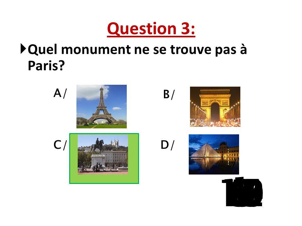 Question 3: Quel monument ne se trouve pas à Paris A/ B/ C/ D/ 1 13 15 10 11 14 9 12 8 4 6 7 2 3 5