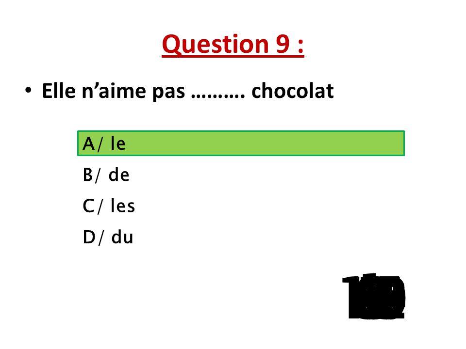 Question 9 : Elle n'aime pas ………. chocolat. A/ le. B/ de. C/ les. D/ du. 1. 13. 15. 10. 11.