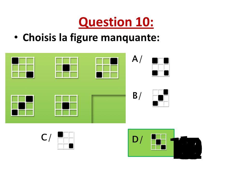 Question 10: Choisis la figure manquante: A/ B/ C/ 1 D/ 13 15 10 11 14 9 12 8 4 6 7 2 3 5