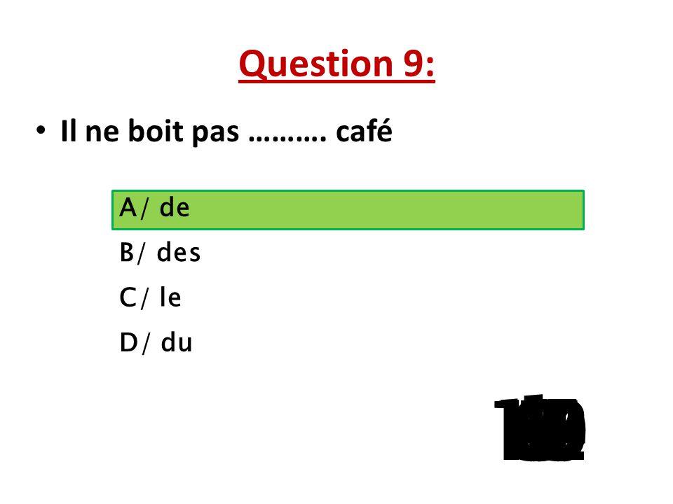 Question 9: Il ne boit pas ………. café A/ de B/ des C/ le D/ du 1 13 15 10 11 14 9 12 8 4 6 7 2 3 5