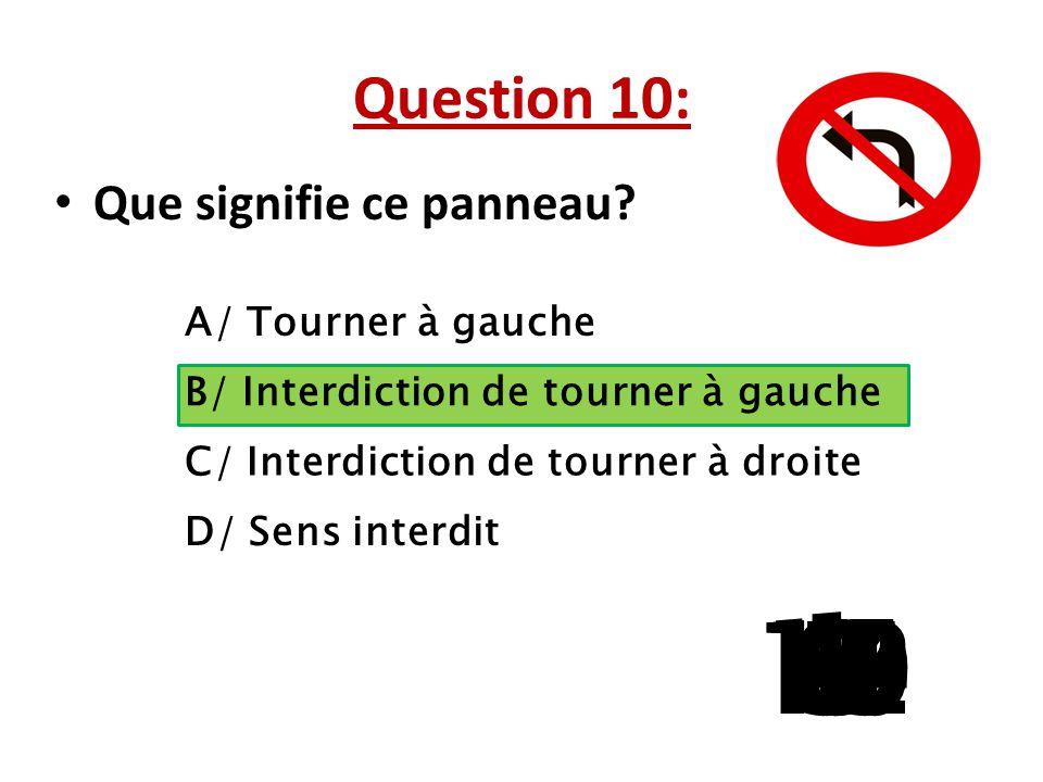 Question 10: Que signifie ce panneau A/ Tourner à gauche. B/ Interdiction de tourner à gauche. C/ Interdiction de tourner à droite.