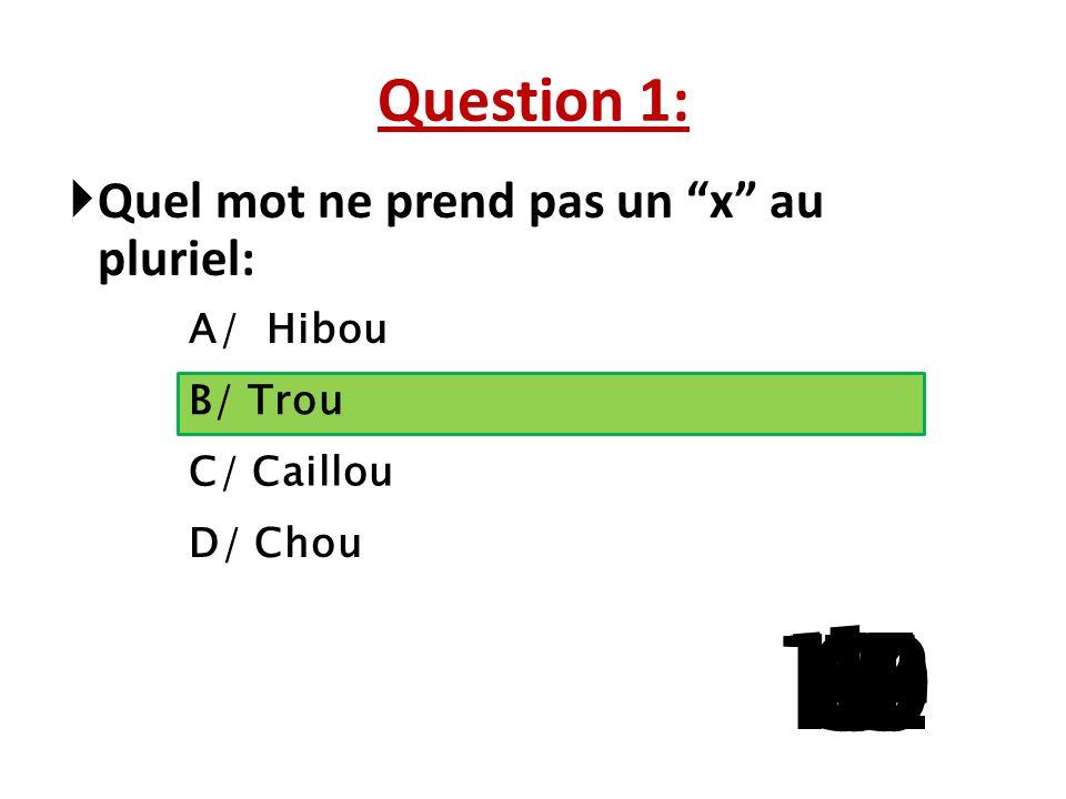 Question 1: Quel mot ne prend pas un x au pluriel: A/ Hibou. B/ Trou. C/ Caillou. D/ Chou. 1.